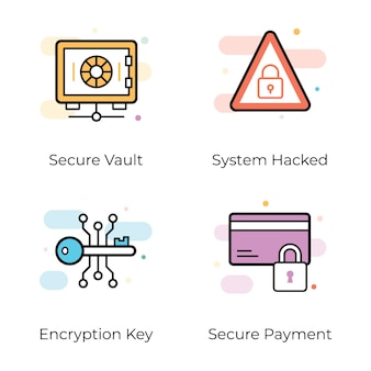 Antivirus en beveiliging plat pictogrammen