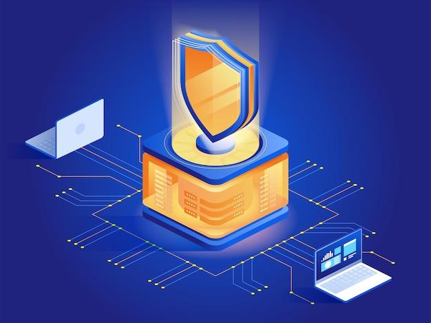 Antivirussoftware abstracte isometrische illustratie. cybersecurity, data encryptie technologie donkerblauw 3d concept. malware beveiligingsprogramma. bescherming tegen aanvallen van hackers, preventie van ongeoorloofde toegang
