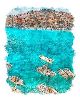 Antoni quinn beach aquarel poster