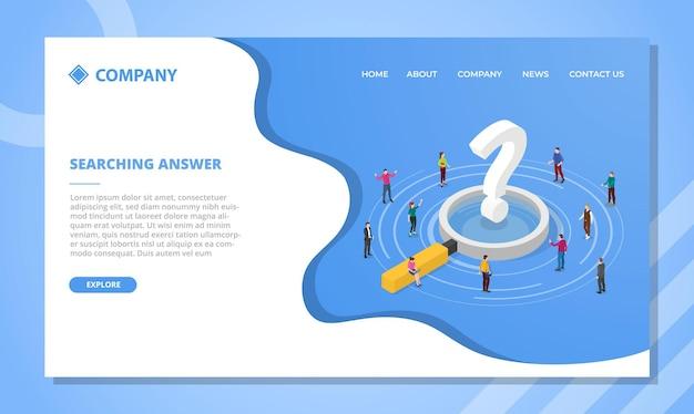 Antwoordconcept zoeken voor websitesjabloon of ontwerp van de startpagina