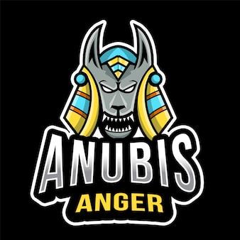 Anubis anger esport logo sjabloon