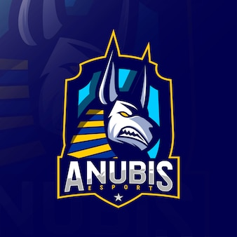 Anubis boos mascotte logo esport sjablonen