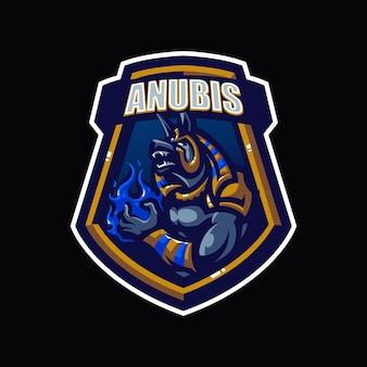 Anubis esport mascotte cartoon logo vector sjabloon