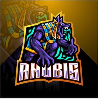 Anubis esport mascotte logo sjabloon