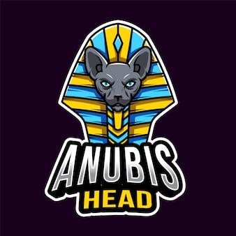 Anubis hoofd esport logo sjabloon