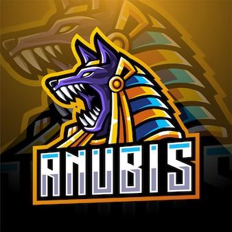 Anubis hoofd esport mascotte logo ontwerp