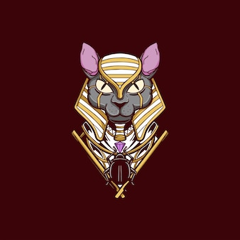 Anubis hoofd god illustratie ontwerp t-shirt egypte