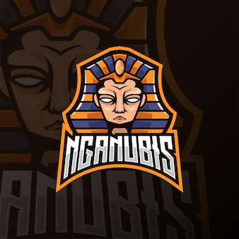 Anubis hoofd mascotte esport logo ontwerp. vooraanzicht logo ontwerp