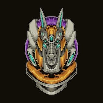 Anubis hoofd mecha vectorillustratie
