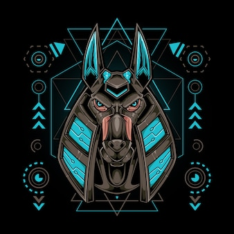 Anubis hoofdrobot met heilige geometrie