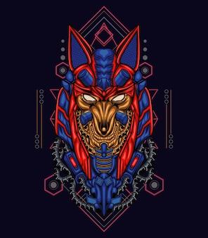 Anubis-illustratie met het thema mecha-geometrie