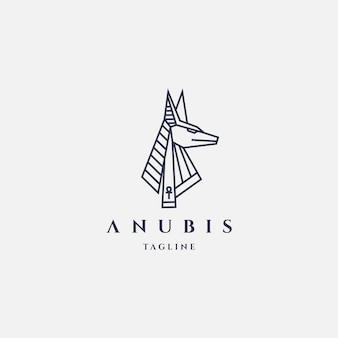 Anubis-logo met lijnstijl ontwerpsjabloon hipster retro vintage label illustratie