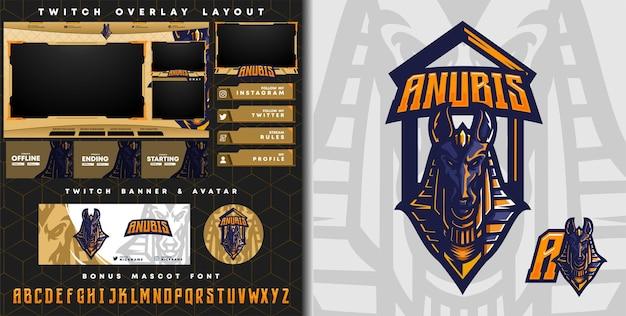 Anubis-logo voor mascotte-logo van e-sport gaming en twitch-overlay-sjabloon