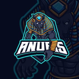 Anubis mascotte esport gaming logo ontwerp