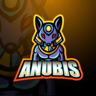 Anubis mascotte esport logo illustratie