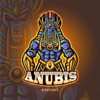 Anubis mascotte esport logo ontwerp