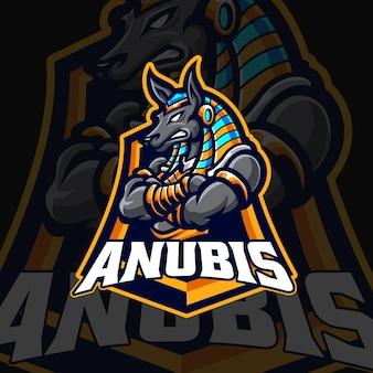Anubis mascotte logo vector sjabloon