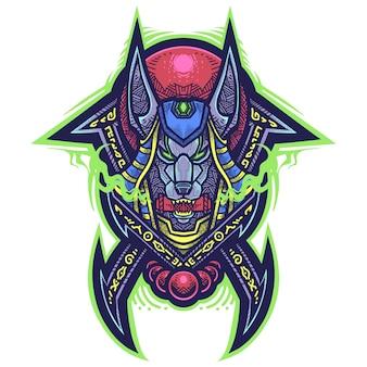 Anubis tribal esport mascotte logo