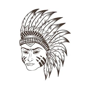 Apache hoofd vectorillustratie
