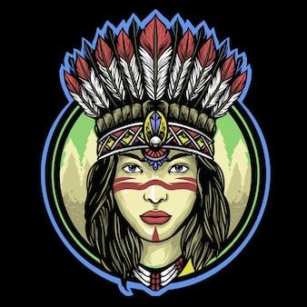Apache indiase meisje logo mascotte ontwerp
