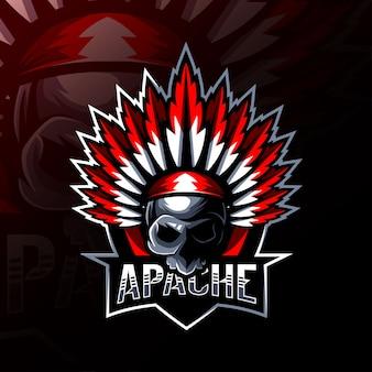 Apache mascotte logo esport ontwerp