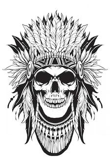 Apache skull thief met omtrekvorm