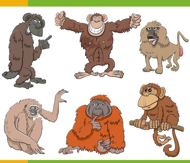 Apen en apen dierlijke karakters cartoon set Premium Vector