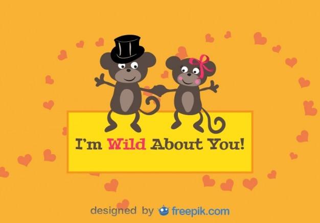 Apen in de liefde valentijnsdag kaart