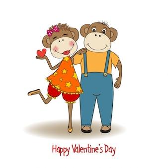 Apen paar in de liefde valentijnsdag kaart