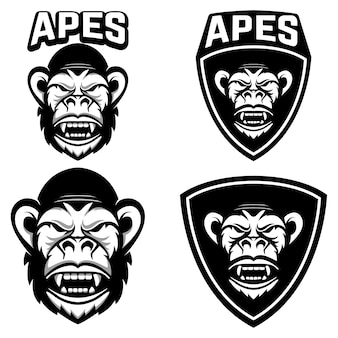 Apen. set emblemen sjablonen met aap hoofd. element voor logo, label, embleem, teken, badge. illustratie