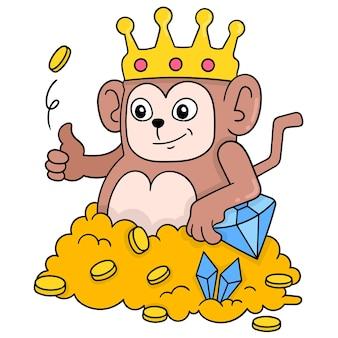 Apenkoning die een rijke kroon draagt die door overvloedige gouden schat wordt omringd, vectorillustratieart. doodle pictogram afbeelding kawaii.