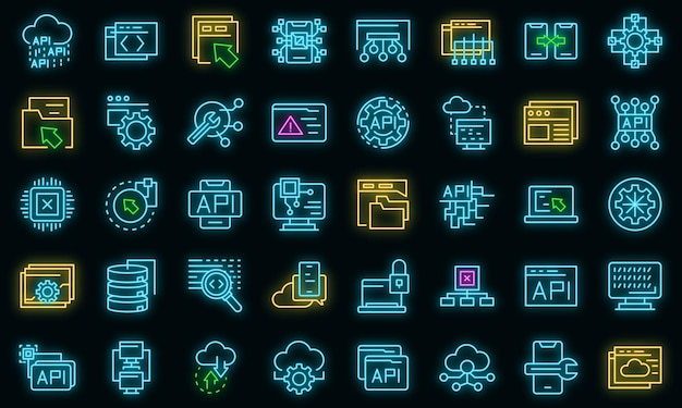 Api-pictogrammen instellen. overzicht set van api vector iconen neon kleur op zwart