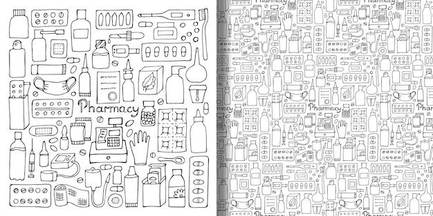 Apotheek handgetekende set en naadloze patroon geneesmiddel doodle collectie voor wallpapers