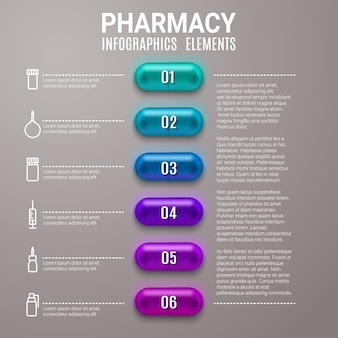 Apotheek infographics hulp van stappendiagram met pillen of capsules.