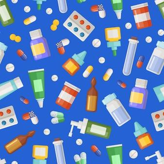 Apotheek medicijnen, pillen en drankjes patroon