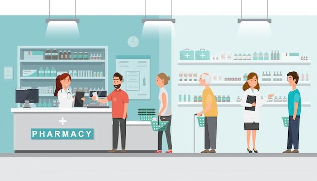 Apotheek met apotheker en cliënt in tegendeel