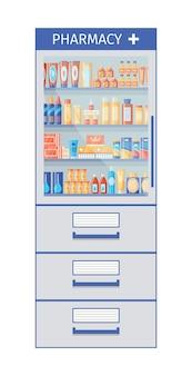 Apotheek plank. medicijnen en medicijnen in de schappen van de drogisterij. vector illustratie.