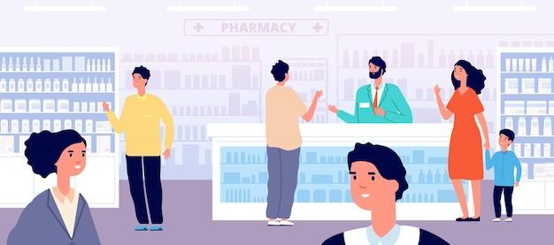 Apotheek winkel. apotheker medisch winkelen, vrouw in drogisterij interieur. mensen kopen medicijnen