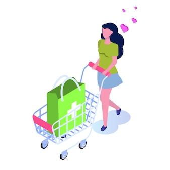 Apotheek winkelconcept. koop medicijnen online, plat isometrisch
