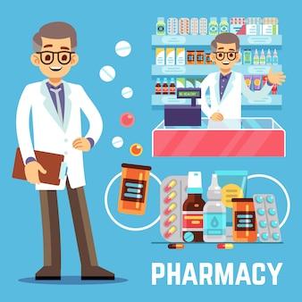 Apotheekelementen met mannelijke apotheker, vitamines en medicijnen
