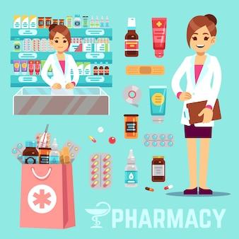 Apotheekelementen met vrouwelijke apotheker en geneesmiddelen. apotheek pictogrammen instellen