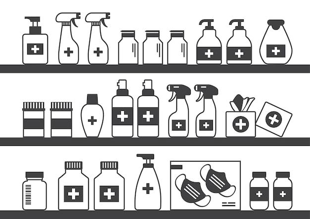Apotheekplank, medicijnwinkel, zwarte flessen, dozen, pillen en containers.