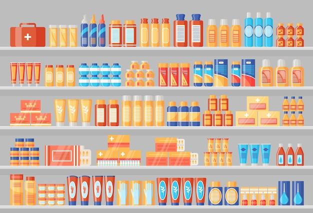 Apotheekplank met medicijnen. medicijnen in de schappen van de drogisterij. vector illustratie.