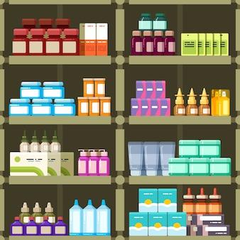 Apotheekplanken met pillen en drugs geneeskunde vakken naadloze patroon