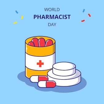 Apotheker dagflessen medicijnen vlakke afbeelding. apotheek en geneeskunde pictogram concept geïsoleerd.
