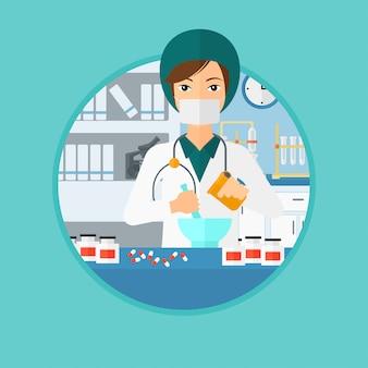 Apotheker die medicijn voorbereidt.