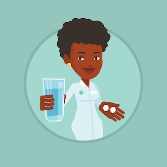 Apotheker die pillen en glas water geeft.
