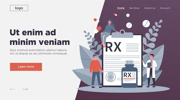 Apotheker en patiënten die rx-recept presenteren