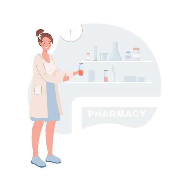 Apotheker in een witte medische mantel met een fles