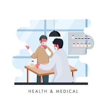 Apotheker man en patiënt medische masker dragen in winkel om coronavirus te voorkomen.